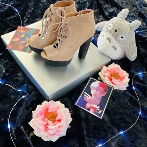 Cream Lace Up Open Toe Ankle Boot Heels